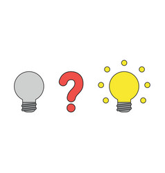 icon concept question mark between two light vector image