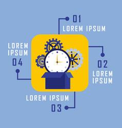Infographic business flowchart clock gear work vector