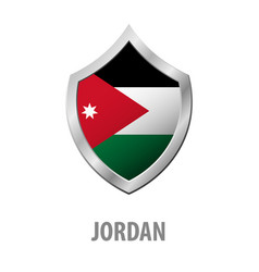jordan flag on metal shiny shield vector image