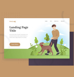 landing page template pet care vector image
