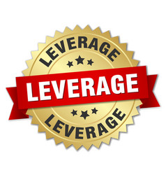 leverage round isolated gold badge vector image