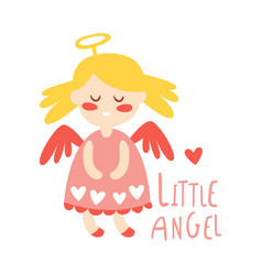 Little baby girl angel colorful hand drawn vector