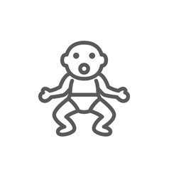 little baby in diapers line icon vector image