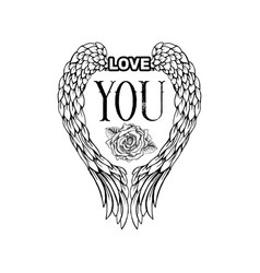 love you sketch black monochrome vector image