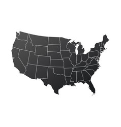 map usa in black color isolated on white vector image