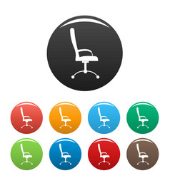 massage chair icons set color vector image