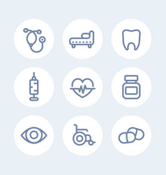 Medical icons set in line style over white vector
