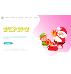 merry christmas happy new year wishes from santa vector image