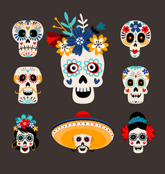 mexican dead sugar heads vector image