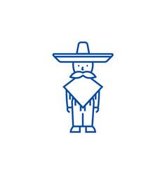 mexican manmariachi line icon concept mexican vector image