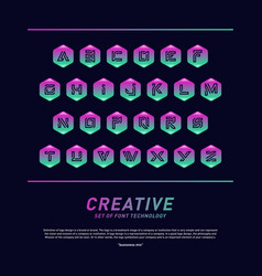 modern font technology with hexagon and alphabet vector image