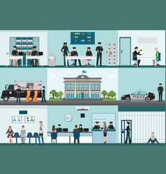 Modern police station building and interior set vector