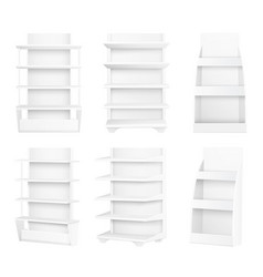 modern stylish wooden shelves painted in white set vector image