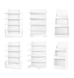 Modern stylish wooden shelves painted in white set vector