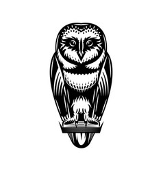 monochrome with a sitting owl vector image