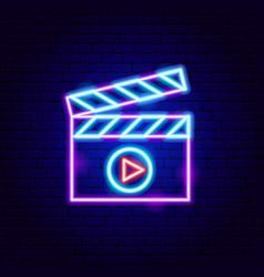 Multimedia neon sign vector
