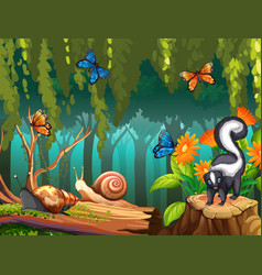 nature scene with skunk and butterflies in forest vector image
