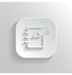 Notepad icon - white app button vector