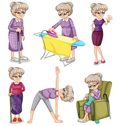 Old woman in different actions vector image