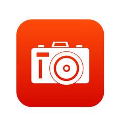 Photocamera icon digital red vector