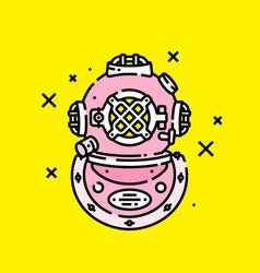 pink retro diving helmet icon vector image