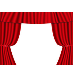 red open curtains isolated on a white background vector image