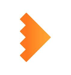 Rightward orange arrowhead flat design long vector