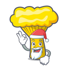 Santa chanterelle mushroom mascot cartoon vector