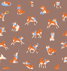 seamless pattern with charming akita inu vector image