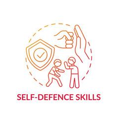 Self-defense skills red gradient concept icon vector