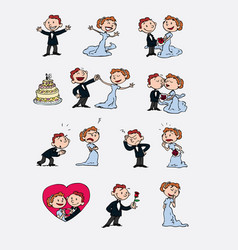 set of characters bride and groom vector image