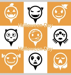 Set of flat Halloween icons vector image