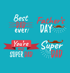 Set of happy fathers day banner and giftcard best vector