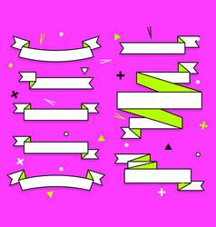 set of trendy flat geometric ribbons vivid vector image