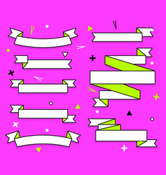 set trendy flat geometric ribbons vivid vector image