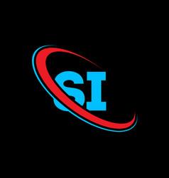 si s i letter logo design initial letter si vector image