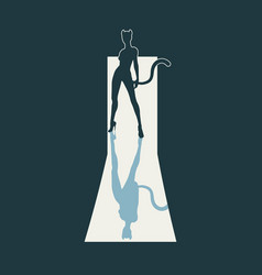 silhouette of cat woman vector image