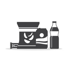 snack product set in monochrome color fast food vector image