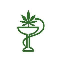 Snake and bowl medical icon marijuana leaf vector