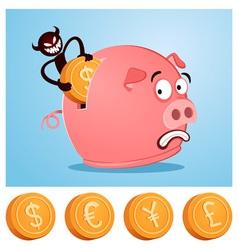 stealing money from piggybank vector image