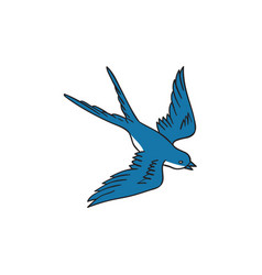 Swallow flying down drawing vector