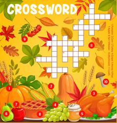 Thanksgiving meals autumn harvest crossword grid vector
