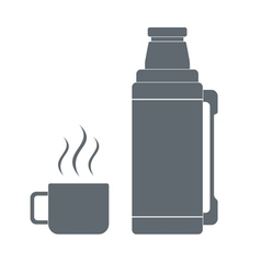 Thermos container and cup icon vector