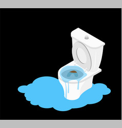 Toilet clogged isometry leakage canalization vector