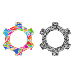 Triangle cog mosaic icons vector