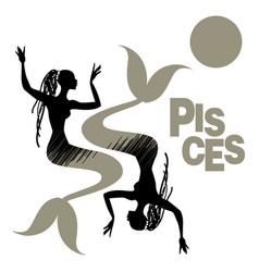 tribal zodiac pisces two mermaids or women vector image