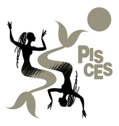 tribal zodiac pisces two mermaids or women with vector image