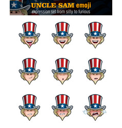 Uncle sam emoji - expression set from silly vector