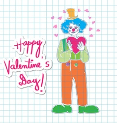 Valentine clown on math paper vector image vector image
