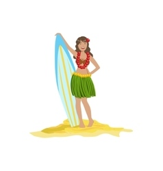 Woman In Classic Hawaiian Outfit Holding Surf vector